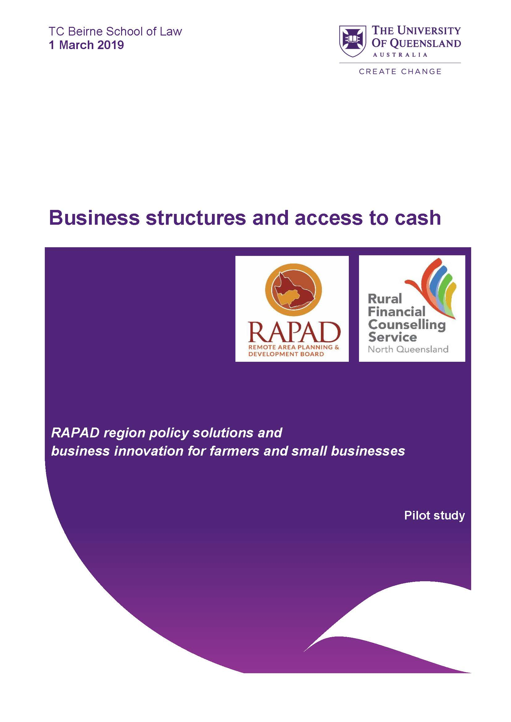 Thumbnail of Pilot Study – Business Structures and Cash